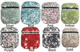 Capas de pó de diamante on-line-Airpod capa para as mulheres meninas tampas do fone de ouvido para airpods tws i10 i12 caso bluetooth strass airpods case à prova de poeira luxo cheio de diamantes