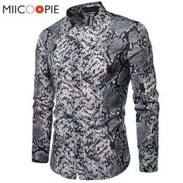 новый мужской дизайн Скидка Сексуальная Змеиная Кожа Мужская Печатная Рубашка 2019 Новый С Длинным Рукавом Camisas Hombre Повседневная Вечеринка Социальная Рубашка Сорочка Homme S-XXL