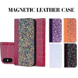 Блестящий кожаный чехол онлайн-Магнитный блеск бумажник Case крокодиловая кожа Bling откидная крышка Kickstand держатель карты для iPhone X XS MAX XR 8 SamsungS8 S9 мешок OPP