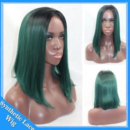 2019 pelucas sintéticas bob barata Venta caliente barata a prueba de calor pelucas corta Bob peluca Ombre negro a verde sintético frente del cordón peluca Bob Cosplay pelucas para mujeres negras rebajas pelucas sintéticas bob barata