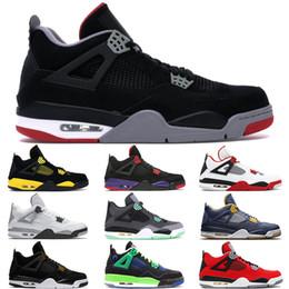 Sapatos masculinos novos preto on-line-2019 New Hot Preto Cimento 4s Sapatos de Basquete Dos Homens Dunk De Acima de Fogo Vermelho Verde Brilho Eminem militar azul Sapatos de Grife US8-12
