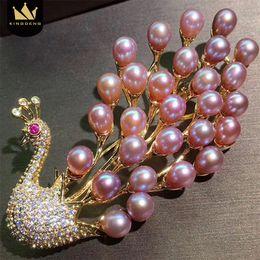 broches de pavão grossista Desconto atacado Natural broche de pérolas Peacock Luxurious Mulheres Moda esmalte pinos de ouro Broches Acessórios Jóias de Natal bonito