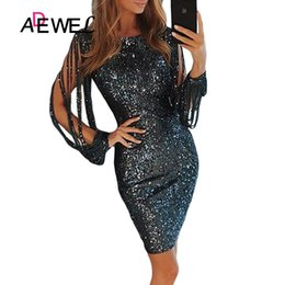 bb61f892a3ae ADEWEL Black Metallic Glitter Sequin Bodycon Party Midi Dress Women Sexy  Sequined Hollow Out Long Sleeve Club Dresses Vestidos
