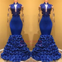 petali di ragazza di fiore nero Sconti Royal Blue Petal Fiori Prom Dresses 2019 Vintage collo alto Sexy Sheer manica lunga pizzo Appliqued nero africano ragazze abiti da sera BA8227