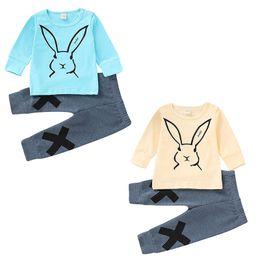 Baby-kaninchen-outfit online-Ostern Baby Mädchen Jungen Kaninchen Outfits Kinder Häschendruck Top + Hosen 2pcs / set 2019 Frühling Herbst Mode Boutique Kinder Kleidung Sets C5779