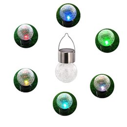 Sonnenknistern licht online-Solar Powered Farbwechsel Outdoor-LED-Licht Ball Crackle Glas LED-Licht Hang Garten-Rasen-Lampen-Yard-Dekoration-Lampe
