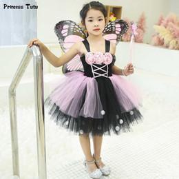 2019 traje de mariposa negro Pink Black Monarch Butterfly Tutu Vestido de Princesa Niños Vestidos de Fiesta Para Niñas Tul Vestido de Flores Traje de Hada de Halloween 1-14y J190615 rebajas traje de mariposa negro