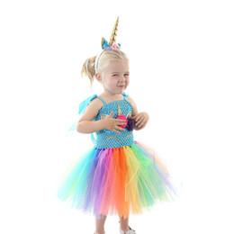 Vestido arco-íris meninas flor on-line-Varejo crianças designer vestido meninas tutu unicórnio rainbow flower princess dress com headband do bebê menina traje cosplay de Halloween