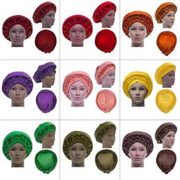 tissus de gele Promotion 10 types portent déjà des couvre-chefs africains Gele des couvre-chefs africains déjà heatie Cravate Aso oke avec perles pour femmes Tissu