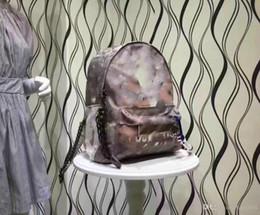 2019 silber metallic farbe schultertasche Hochwertige Graffiti gedruckte Canvas Rucksack Seiltasche bestickt mit mehrfarbiger Canvas Rucksack Schultasche Handtasche