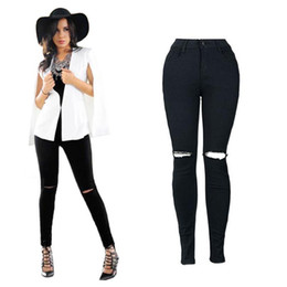 70d89e5a2aa2f Fashion Black Hole Jeans Women High Waist Elastic Cool Denim Pants Capris Female  Skinny White Casual Pencil Pants Jeans HK833795