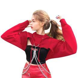 top féminin gothique Promotion Sweat à capuche à manches longues pour femmes gothique Punk Casual Pull Crop Top Sweat Femmes
