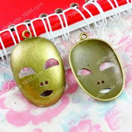 Canada 50 pcs 25 * 39 MM Antique bronze alliage tibétain masque masque charmes pour bracelet vintage pendentif en métal pour boucle d'oreille à la main bricolage fabrication de bijoux Offre