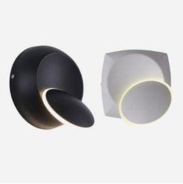 Canada Carré rond 5W LED Applique 360 Degrés Réglable Rotation Veilleuse Noir Blanc Moderne Creative Corridor Lampe Offre