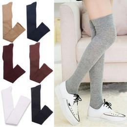 Argentina Señoras de las mujeres de las mujeres 55cm sólido atractivo del muslo alto sobre los calcetines de la rodilla Medias largas de algodón cheap cotton solid thigh high socks Suministro