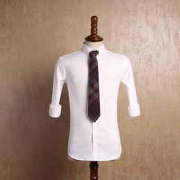 2019 esmoquin para hombre xxl Algodón blanco Hombres Camisas formales Boda Sark Novio nupcial Novias Blazers estilo occidental Novio Hombres de negocios Underlinen rebajas esmoquin para hombre xxl