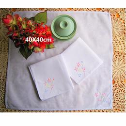 handkerchief gift 2019 - White Handmade Handkerchief 100% Cotton Floral Border Vintage Thin Ladies Embroidered