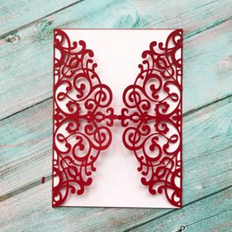 pop up easter cards Promo Codes - 20pcs Red Wedding Invitation Card Hollow Out Lace Patterns Pure Color Pearl Paper Greeting Card 3D Pop-Up Festival Card