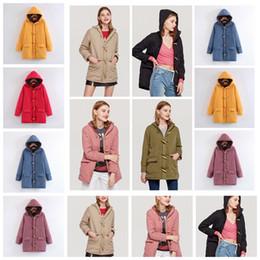 Inverno nuovo corno fibbia con cappuccio in cotone cachemire trapuntato lungo cappotto casual sottile, kaki, giallo, rosso, nero, supporto lotto misto da