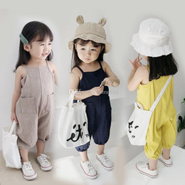 3bbc3b24f Vintage Leisure Overalls Baby girls boys Romper Solid Color Suspender  Infant Kids Soft Linen Climbing clothes Summer Toddler Jumpsuits C6310  discount baby ...