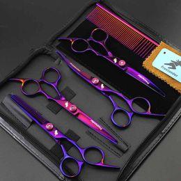 ножницы для стрижки волос Скидка 6inch Резка Разбавление Изогнутые Pet Grooming ножницы Набор с Case Dog Парикмахерское Shear Clipper Professional Scissor для домашних животных