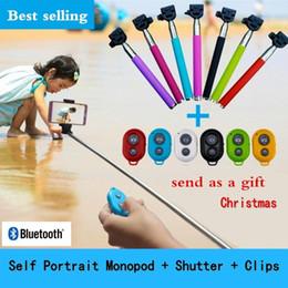 sac à volet Promotion 2022 Handheld auto Extendable cadeau de Noël portrait monopode selfie bâton monpod d'appareil photo Bluetooth Shutter + Bluetooth + volet Clips
