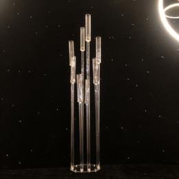 2019 fiori di candelabri Candeliere acrilico 8 teste / braccia portacandele portacandele candelabri centrotavola portacandele candelabro decorazione fiori di candelabri economici