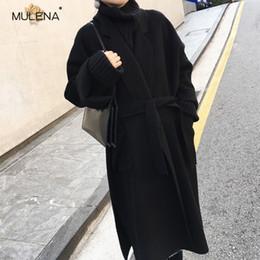 Casaco de luxo mulher lã on-line-Mulena Cintura Ajustável Lã Quente Longo Trench Coat Mulheres Inverno Hardy Casacos de Luxo Outover Casuais Plus Size Moda Senhora Do Escritório