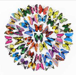 artisanat de feuille à la main Promotion Imulation Papillon Stéréo Papillon Artisanat 3D Couleur Papillon Accueil Bijoux Rideau Décoration Fleur Accessoires Tir Props Sticker Mural