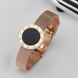 titanium bangle rose gold Coupons - designer jewelry titanium steel bracelets romaji black disc bracelets for women simple rose gold bangles hot fahsion