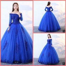 Vestido de fiesta azul real vestido de bola apliques de encaje vestido de manga larga princesa puffy sexy corsé vestidos de fiesta elegantes desde fabricantes