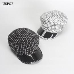 Commercio all'ingrosso 2018 nuove donne cappello moda inverno plaid newsboy caps patchwork visiera berretti in pelle tinta unita cappello ottagonale tweed berretti da
