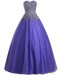 nuovi vestiti da abito pesante Sconti 2019 Nuovo Vestido De Festa Longo Para Casamento Heavy Beaded Sweetheart Viola Tulle Ball Gown Prom Dresses Dress Abito da sera A175