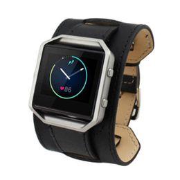 2019 черные кожаные наручные часы Leather  Cuff Watch Band Strap For Fitbit Blaze LED Watch Tracker, Bracelet type Black скидка черные кожаные наручные часы
