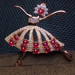 2019 broches de menina de dança Dancing Girl Rubi broche Frete grátis Natural real Rubi 925 broche de prata esterlina broches de menina de dança barato