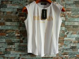 Fibbie sciolte online-Balmain Fibbia a spalla in metallo bianco LOGO dorato T-Shirt senza maniche Striscia di cotone sfusa stampata Con moda donna donna sexy