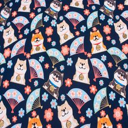 2019 fanáticos de los perros 45X110 cm Half Yard Cartoon Dog Fan Cherry Blossom tela de algodón de lino para mantel bolsa de cortina funda de cojín costura DIY rebajas fanáticos de los perros