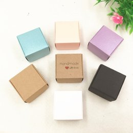Nette kleine süßigkeiten-boxen online-30pcs / lot Zwei Größen Kleine bunte Papierkasten Kraft Karton Handgemachte Seifen-Kasten, nette Geschenk-Box, Schmuck / Candy Verpackungsschachteln