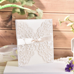 free engagement invitation cards Coupons - 10pc lot White Hollow Laser Cut Wedding Invitations Elegant Engagement Wedding Invitation Card With Ribbon Free Envelope Seals