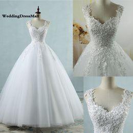 Vestidos de baile Cintas de Espaguete Branco Marfim Vestidos De Casamento De Tule 2019 com Pérolas Vestido De Noiva Casamento Tamanho Feito Pelo Cliente de