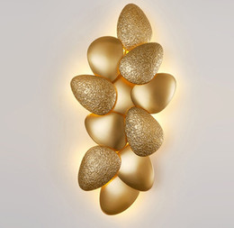 Lampade a conchiglia online-Luci Design moderno LED lampada da parete per soggiorno di lusso in oro da letto Comodino riparo della parete di Light Fixtures Shell Shape Home Decoration LLFA