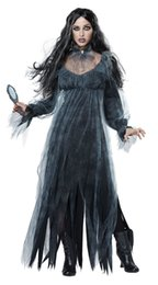 2019 traje de mulheres demônio Promoção Halloween Horror Ghost Zombie Noiva Perdido Sexy Traje Mulheres Meninas Bar Desgaste Estágio Partido Vampiro Demônio Longo Vestido Cosplay trajes traje de mulheres demônio barato