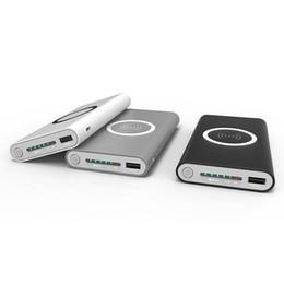 2019 bateria powerbank de emergência Qi carregamento sem fio 10000 mah powerbank banco de potência usb portátil sem fio de carregamento pad para iphone x 8 plus samsung note 8 s8