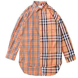 Plaid Stitching Shirt Herren Langarmhemd Jacke 2019 Sommer Loose Stitching Plaid Shirt Hip-Hop-Jacke von Fabrikanten