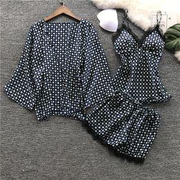 pijamas laranja mulheres Desconto 3 Pcs Laço Impressão Mulheres Pijama Com Pad Nightdress Twinset + Cardigan Mulher Pijama Set