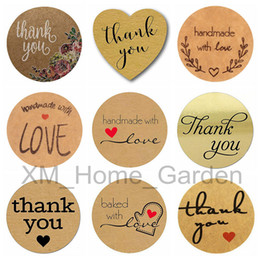 rolled stickers Promo Codes - Thank You with love heart Adhesive Stickers for Envelopes Card Sealing Sticker DIY Handmade Gift Cake Candy Paper Tags 1 Roll= 500 pcs