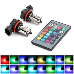 2019 16 luzes estroboscópicas led Carro levou Luzes Lâmpadas de Nevoeiro RGB para Auto 27SMD Luzes de Nevoeiro Coloridas Lâmpadas H11 com Controle Remoto de Flash Strobe 16 modelos 16 luzes estroboscópicas led barato