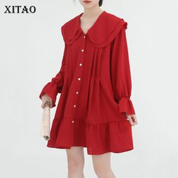 peter pan collar knee length dress Coupons - [XITAO] Single Breasted Women Korea Fashion Peter Pan Collar Full Sleeve Ruffles Loose Solid Color Knee-length Dress ZLL3088