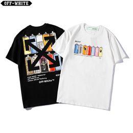 19ss OFF Summer Street wear Europa Parigi Moda Uomo di alta qualità Grande buco rotto Tshirt in cotone Casual Donna T-shirt T-shirt S-XXL Coppia usura da