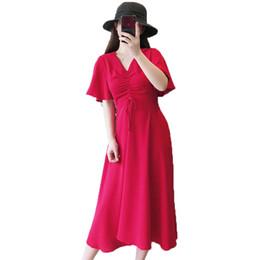 Canada Femmes Robes Élégantes Été Veau Rouge Longueur Mousseline De Soie Une Pièce Vestidos Simplicity Col En V Cordon Peplum Robe Femme 2019 supplier red one piece dresses Offre